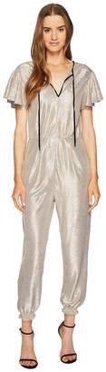 Just Cavalli Flutter Short Sleeve Metallic Jumpsuit Women's Jumpsuit & Rompers One Piece