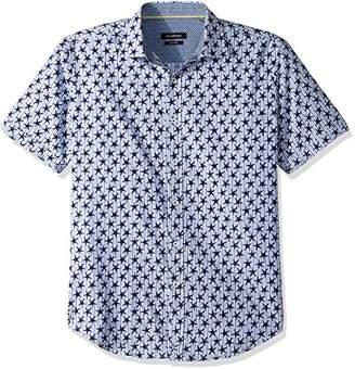 Bugatchi Men's Cotton Shaped Fit Short Sleeve Patriot Shirt