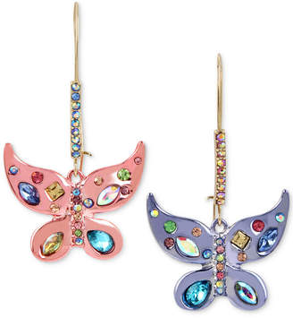 Betsey Johnson Two-Tone Multi-Stone Butterfly Drop Earrings