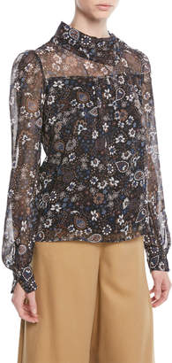 See by Chloe Printed Long-Sleeve High-Neck Blouse