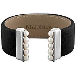 Majorica New Isla 5MM White Pearl and Leather Bangle