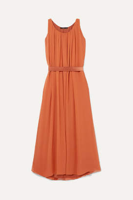 Max Mara Manolo Pleated Silk-chiffon Maxi Dress - Orange