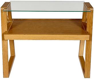 One Kings Lane Vintage 1950s Oak & Glass Top Side Table - 2-b-Modern
