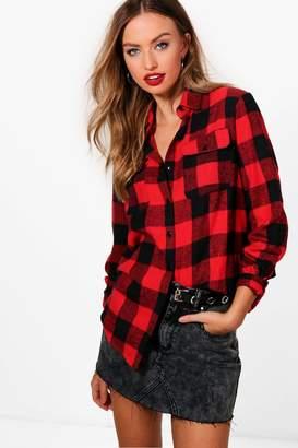boohoo Jennifer Oversized Checked Lumberjack Shirt