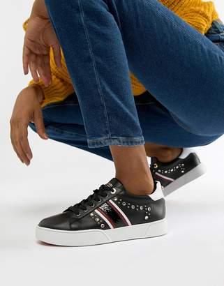 Dune Eryn embellished black leather bumper sneakers