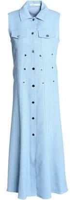 Maje Eyelet-Embellished Chambray Midi Shirt Dress