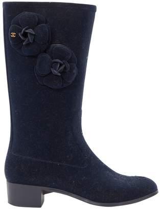Chanel Blue Velvet Boots
