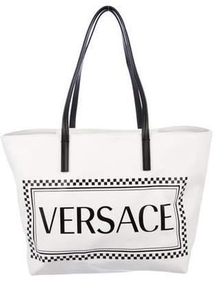 Versace Logo Canvas Tote