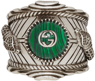 Gucci Silver and Green Garden Ring