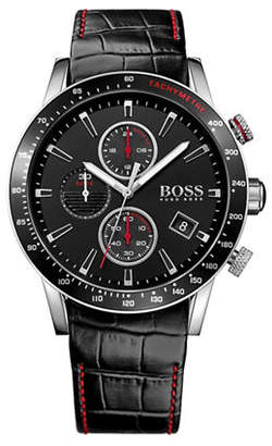 BOSS Chronograph Rafale Stainless Steel and Leather Strap Watch