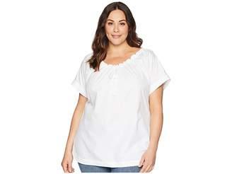 Lauren Ralph Lauren Plus Size 80s Cotton Broadcloth Short Sleeve Shirt
