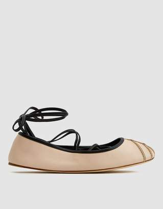 Marni Lace Up Ballet Flat in Buff White