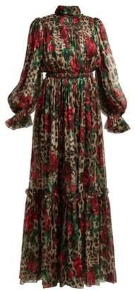 Dolce & Gabbana Leopard Print Silk Chiffon Jumpsuit - Womens - Beige Multi