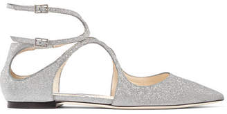 Jimmy Choo Lancer Glittered Leather Point-toe Flats - Silver