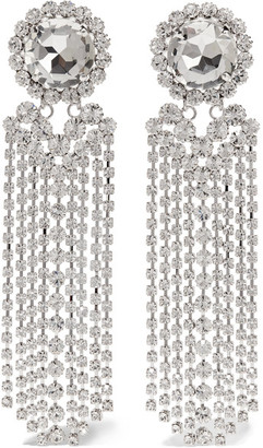 Alessandra Rich - Fringed Silver-plated Swarovski Crystal Clip Earrings - one size