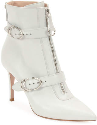 Gianvito Rossi Napa Buckled Zip-Front Ankle Booties, White