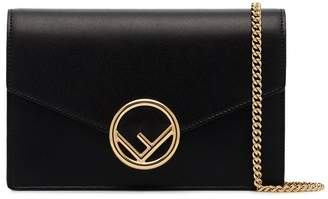 Fendi black logo leather wallet on chain