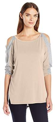 Calvin Klein Jeans Women's Color Block Cold Shoulder Long Sleeve Shirt $24.37 thestylecure.com