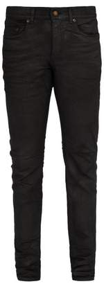 Saint Laurent - Waxed Cotton Blend Jeans - Mens - Black