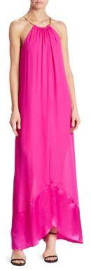 Trina Turk Haute Havana Poinciana Halter Silk Gown