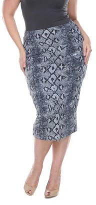 White Mark Plus Size Grey Snake Print Jordan Pencil Skirt