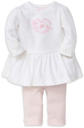 Little Me Baby Girl's Sweetheart Two-Piece Long-Sleeve Cotton Top and Pants Set - White-pink, Size 3 mo