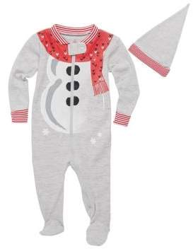 Petit Lem Baby's Two-Piece Snowman Footie & Hat Set
