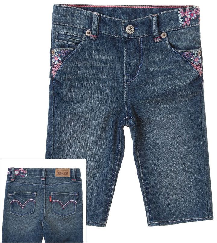 Levi's embroidered denim capris - toddler