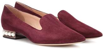 Nicholas Kirkwood Casati embellished suede loafers