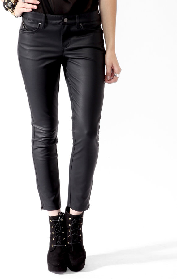 Forever 21 Ankle Zip Faux Leather Pants