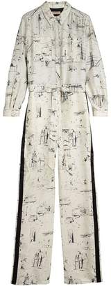 Burberry Landmark Print Silk Jumpsuit