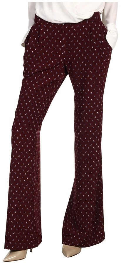Tibi Sparrow Wide Leg Pleated Trouser (Burgundy/Ivory) - Apparel