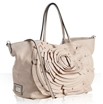 Valentino light pink leather rosette tote