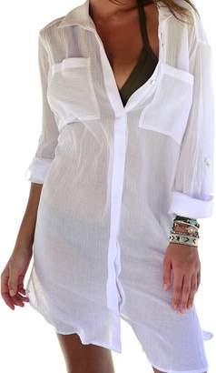 Bsubseach Women White Three Quarter Sleeve Swimwear Beach Tunic Dress Loose Lace up V Neck Swimsuit Cover up Beachwear