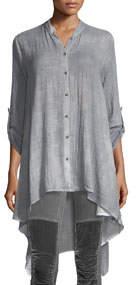 Terese Gauze Tab-Sleeve Tunic Chambray