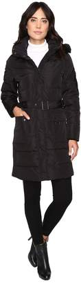 Lauren Ralph Lauren Belted Down w/ Faux Fur Hood Women's Coat