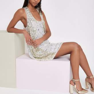 River Island RI Studio white sequin embellished dress