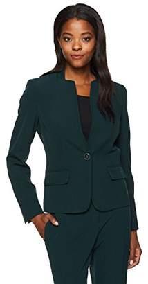 Kasper Women's Stretch Crepe 1 Button Collarless Jacket (2)