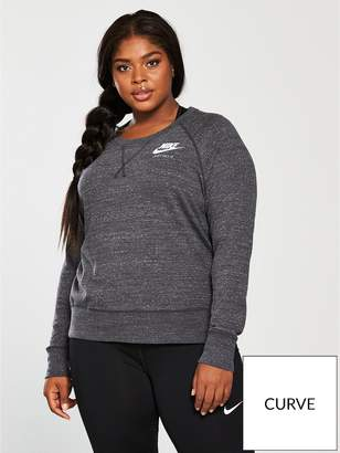 Nike Gym Vintage Crew Sweat Top (Curve) - Charcoal