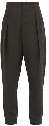 Haider Ackermann High Rise Slubbed Linen Twill Trousers - Mens - Grey