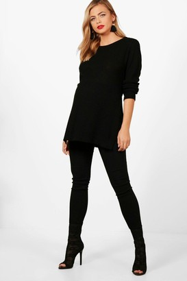 boohoo Maternity Side Split Moss Stitch Jumper