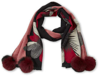 La Fiorentina Black & Red Floral Real Fur Pom-Pom Scarf