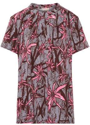 Marni Pleated Printed Cotton-Jersey T-Shirt