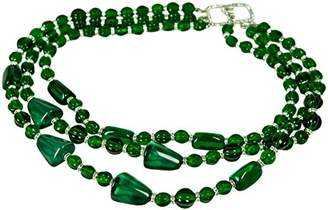 Kenneth Jay Lane 3 ROW EMERALD (faux) BEADS WITH PAVE CRYSTAL STATIONS