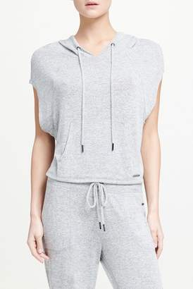 Donna Karan Cropped Cap Sleeve Pullover Hoodie
