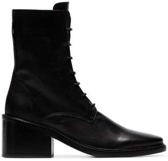 Ann Demeulemeester black 65 lace up leather ankle boots
