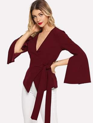 Shein Split Bell Sleeve Surplice Wrap Knot Coat