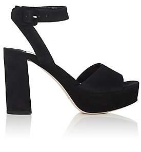 Miu Miu Women's Suede Ankle-Strap Platform Sandals - Nero