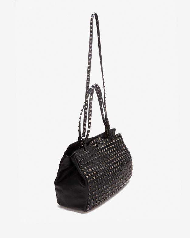 Valentino Noir All Over Rockstud Medium Tote: Black
