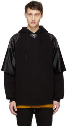 Alexander Wang Black Football Jersey Hybrid Hoodie